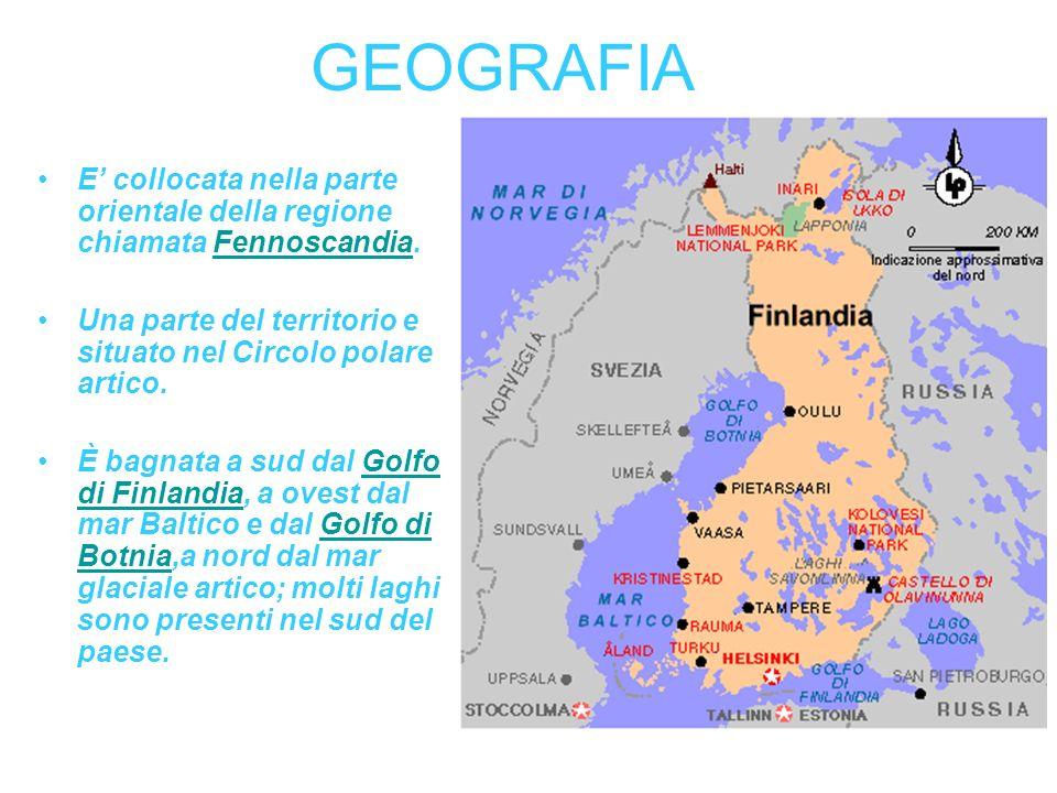GEOGRAFIA E' collocata nella parte orientale della regione chiamata Fennoscandia. Una parte del territorio e situato nel Circolo polare artico.