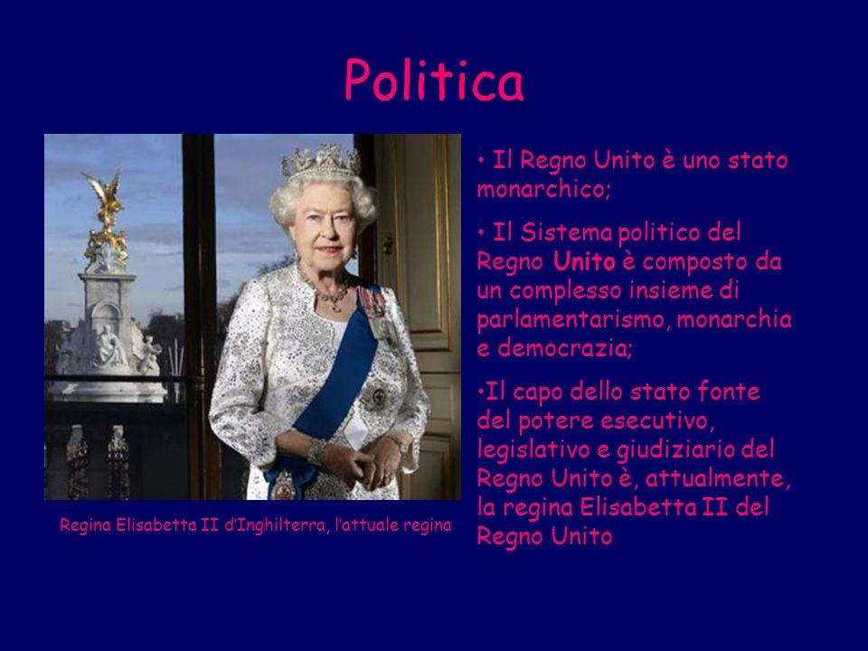 Politica Il Regno Unito è uno stato monarchico;