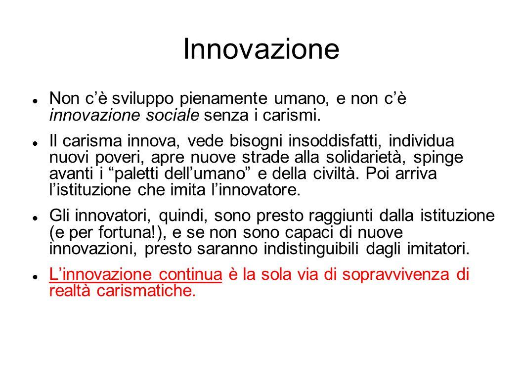 Innovazione Non c'è sviluppo pienamente umano, e non c'è innovazione sociale senza i carismi.
