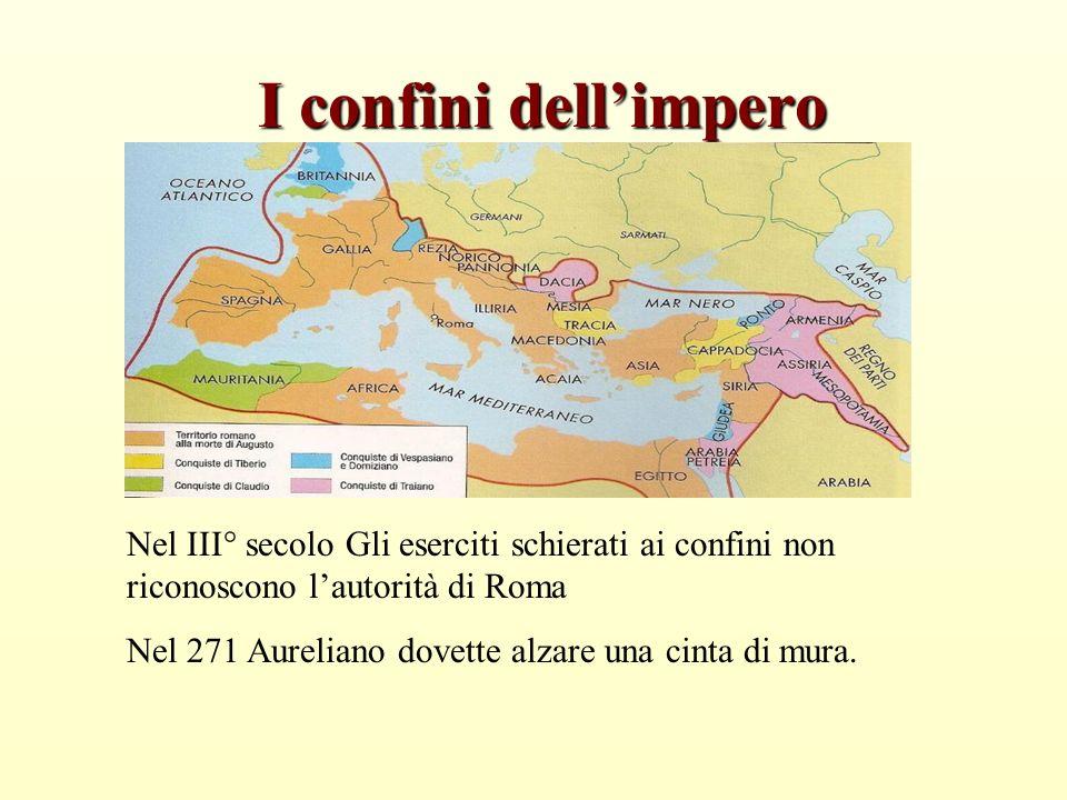 I confini dell'impero Nel III° secolo Gli eserciti schierati ai confini non riconoscono l'autorità di Roma.