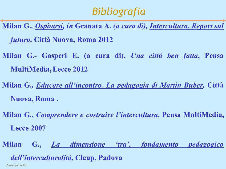 Bibliografia Milan G., Ospitarsi, in Granata A. (a cura di), Intercultura. Report sul futuro, Città Nuova, Roma 2012.