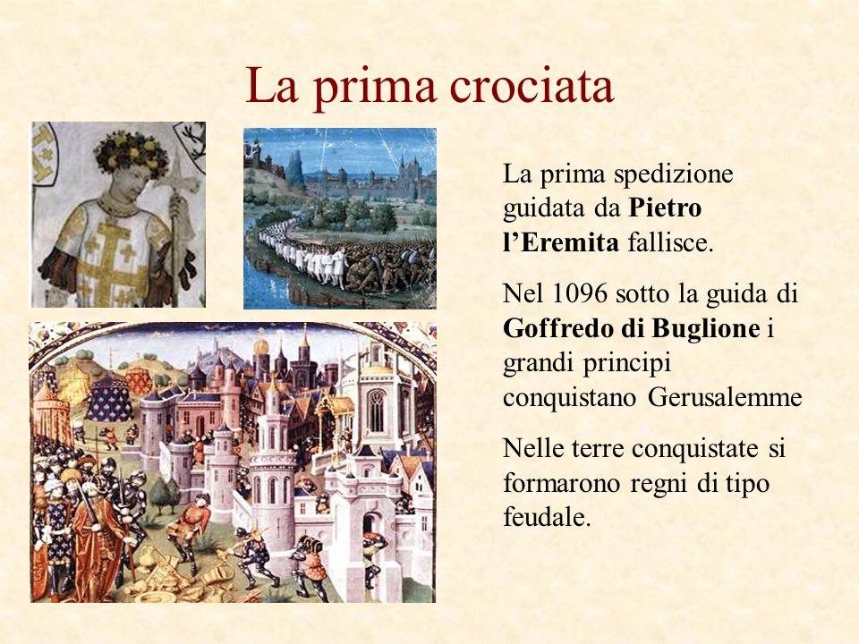 La prima crociata La prima spedizione guidata da Pietro l'Eremita fallisce.