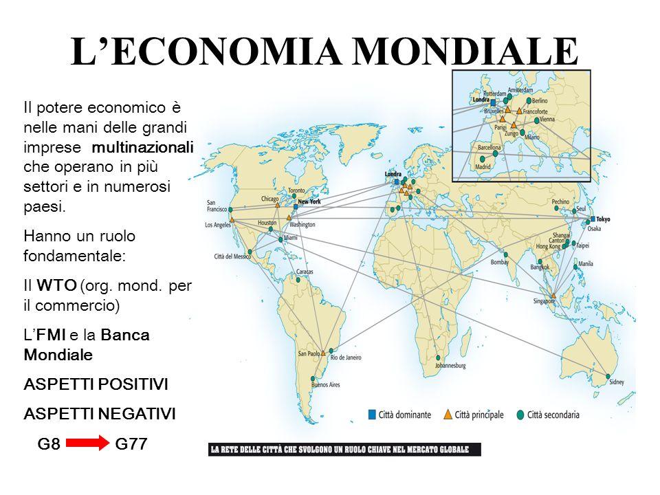 L'ECONOMIA MONDIALE Il potere economico è nelle mani delle grandi imprese multinazionali che operano in più settori e in numerosi paesi.