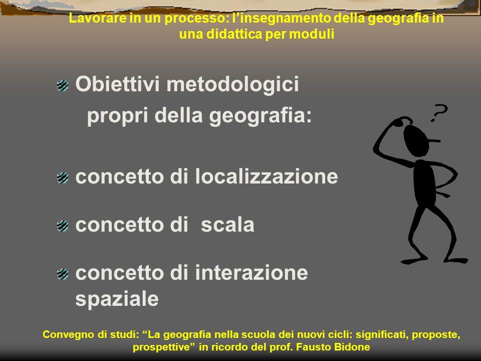 Obiettivi metodologici propri della geografia: