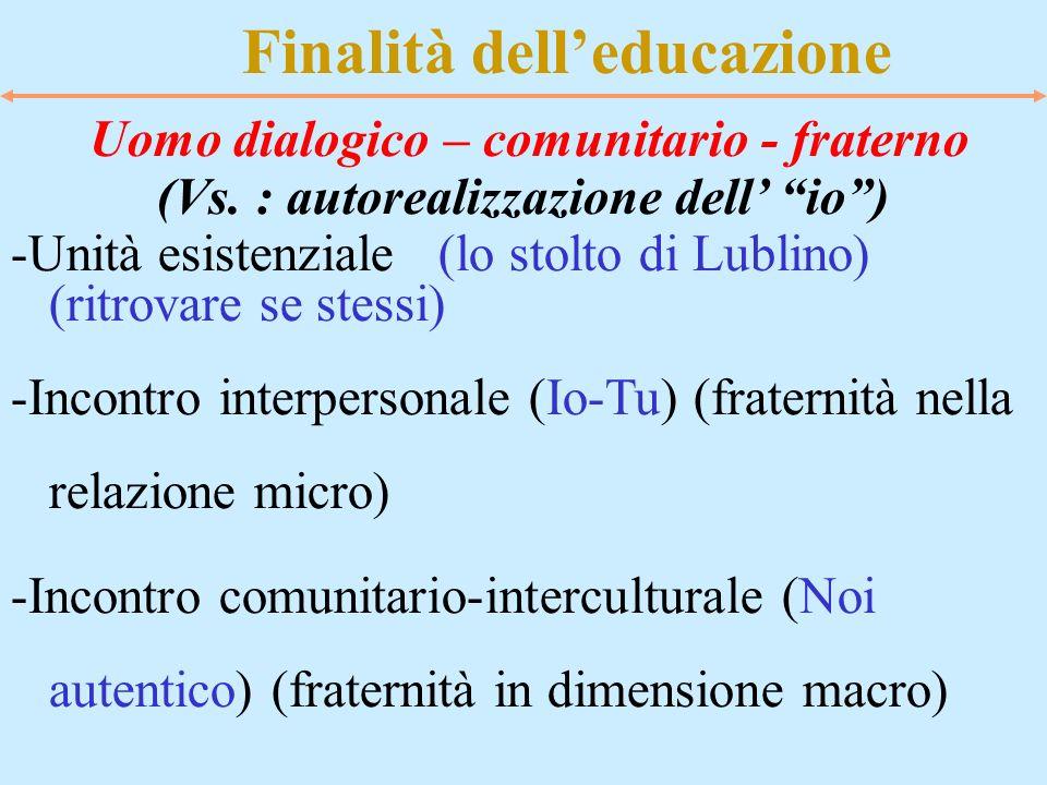 Finalità dell'educazione (Vs. : autorealizzazione dell' io )