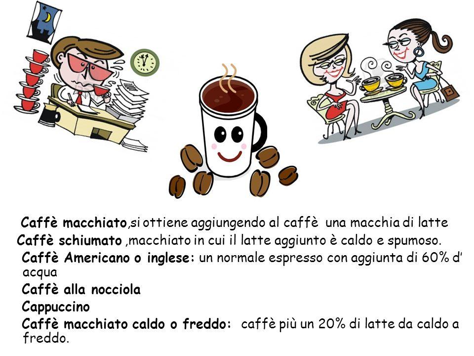 Caffè macchiato,si ottiene aggiungendo al caffè una macchia di latte Caffè schiumato ,macchiato in cui il latte aggiunto è caldo e spumoso.