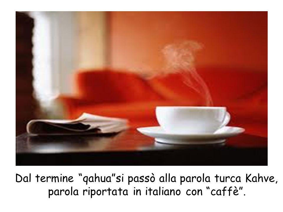 Dal termine qahua si passò alla parola turca Kahve, parola riportata in italiano con caffè .