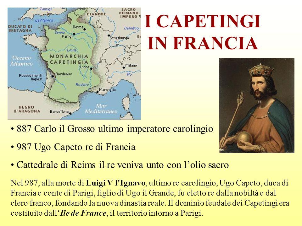 I CAPETINGI IN FRANCIA 887 Carlo il Grosso ultimo imperatore carolingio. 987 Ugo Capeto re di Francia.