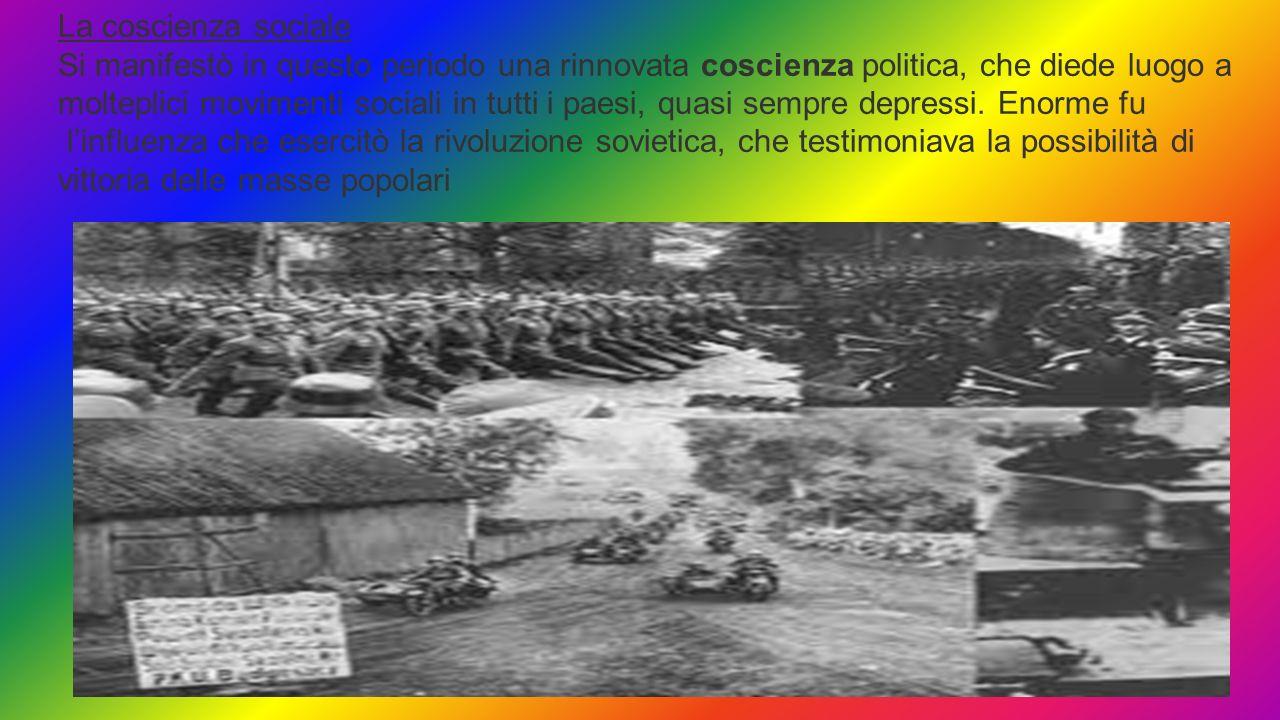 La coscienza sociale Si manifestò in questo periodo una rinnovata coscienza politica, che diede luogo a.