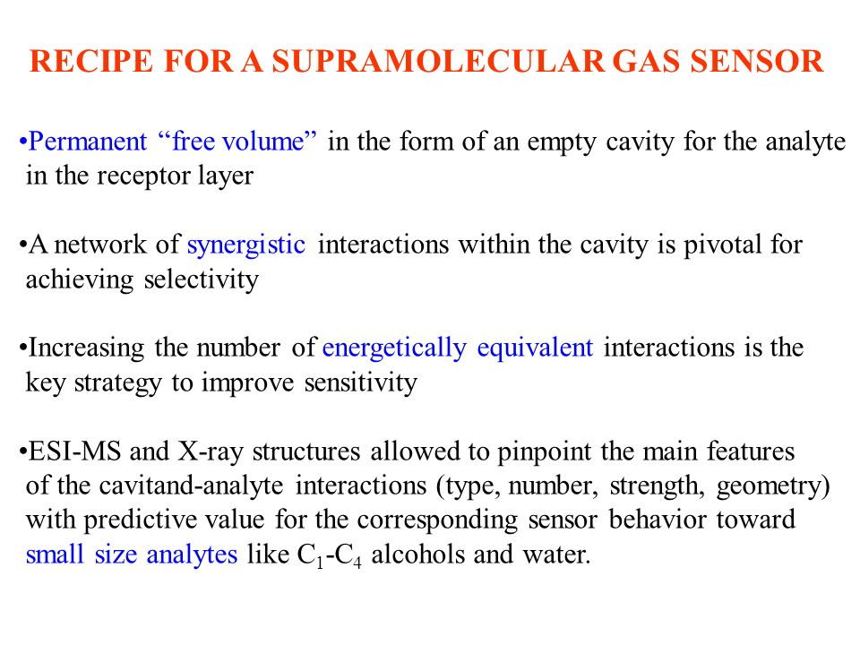 RECIPE FOR A SUPRAMOLECULAR GAS SENSOR