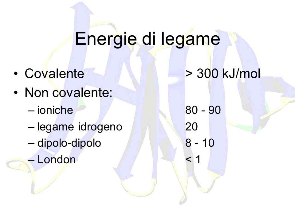 Energie di legame Covalente > 300 kJ/mol Non covalente: