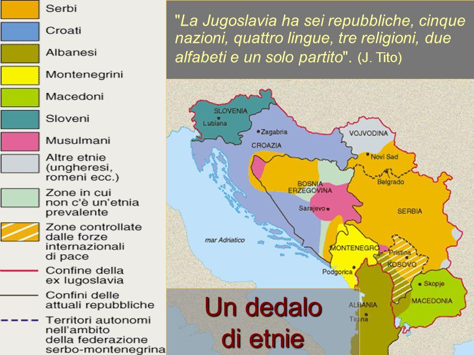 La Jugoslavia ha sei repubbliche, cinque nazioni, quattro lingue, tre religioni, due alfabeti e un solo partito . (J. Tito)