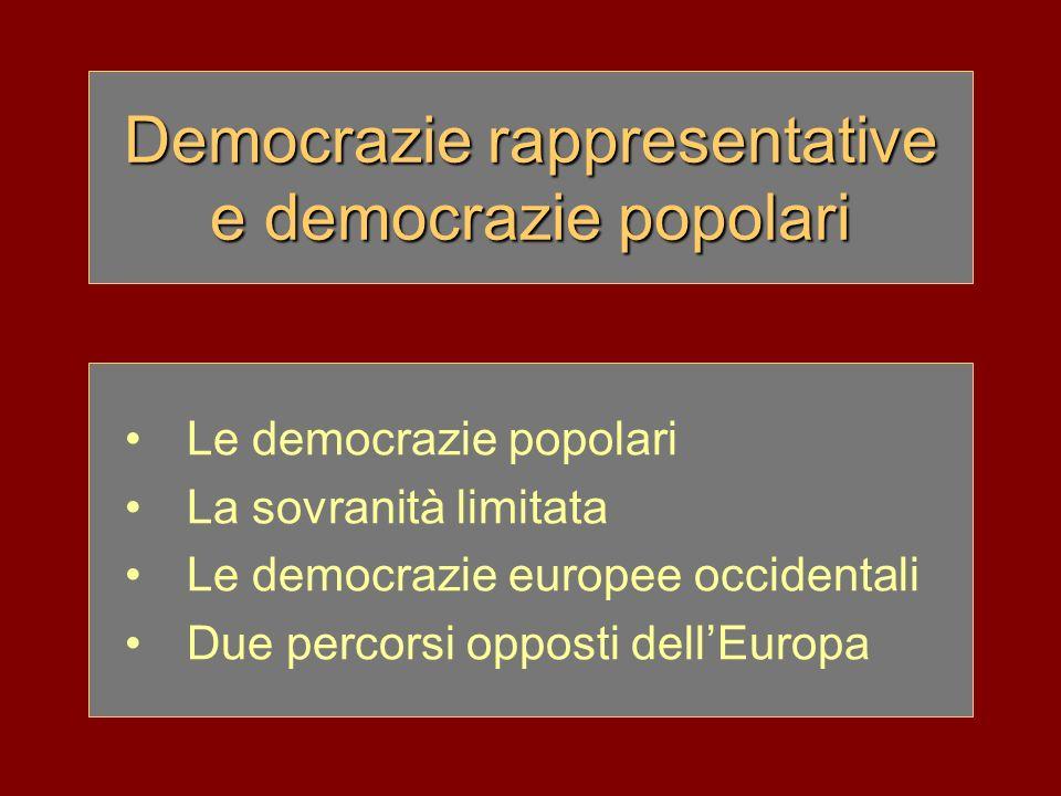 Democrazie rappresentative e democrazie popolari