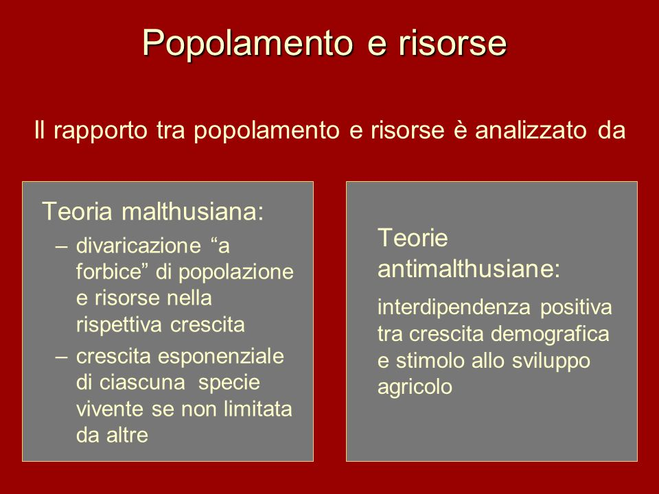 Il rapporto tra popolamento e risorse è analizzato da