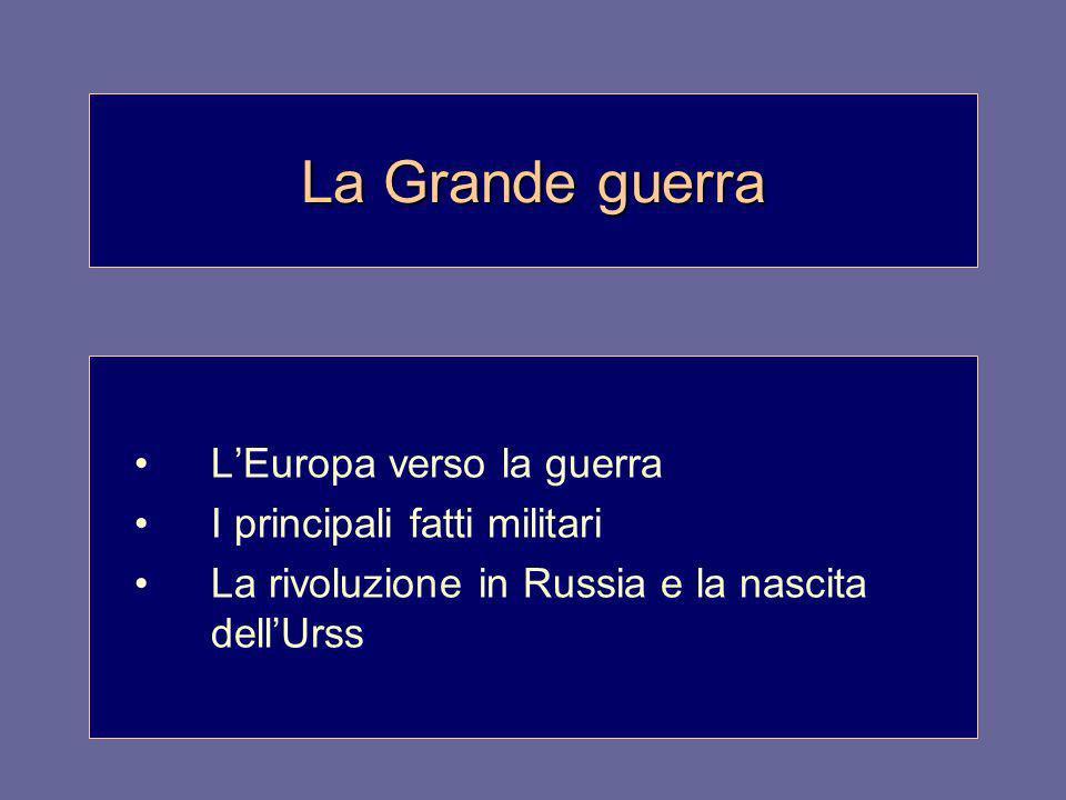 La Grande guerra L'Europa verso la guerra I principali fatti militari