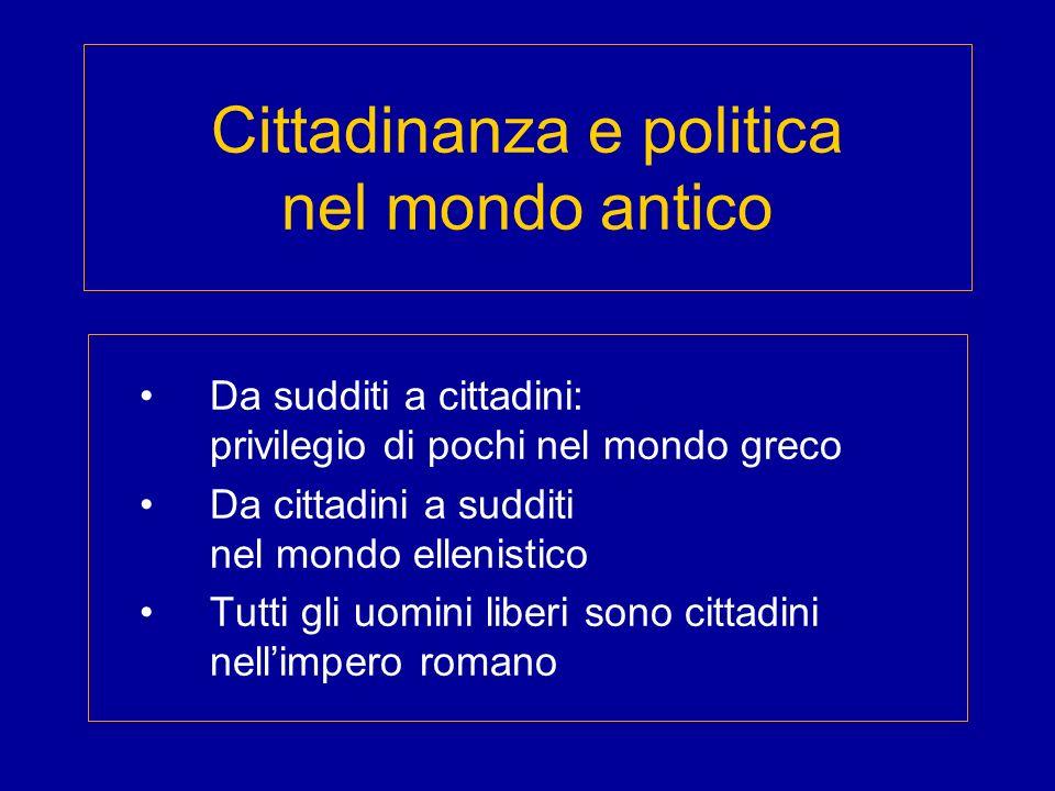 Cittadinanza e politica nel mondo antico
