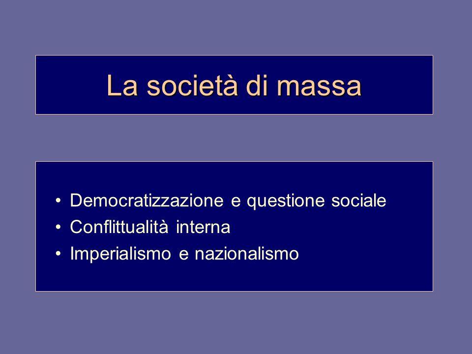 La società di massa Democratizzazione e questione sociale