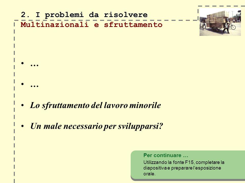 2. I problemi da risolvere Multinazionali e sfruttamento