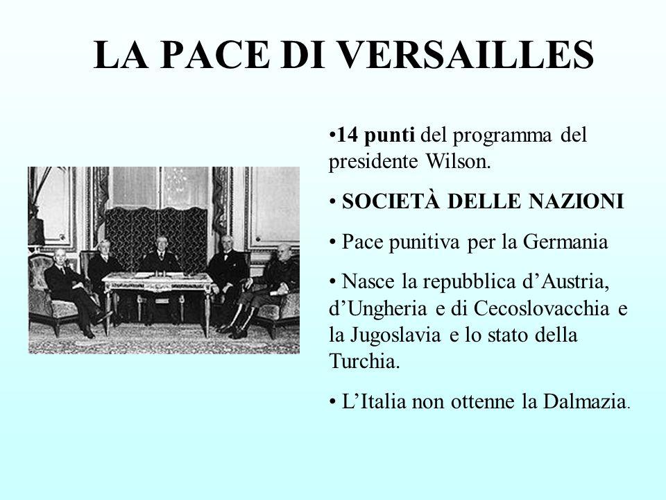 LA PACE DI VERSAILLES 14 punti del programma del presidente Wilson.