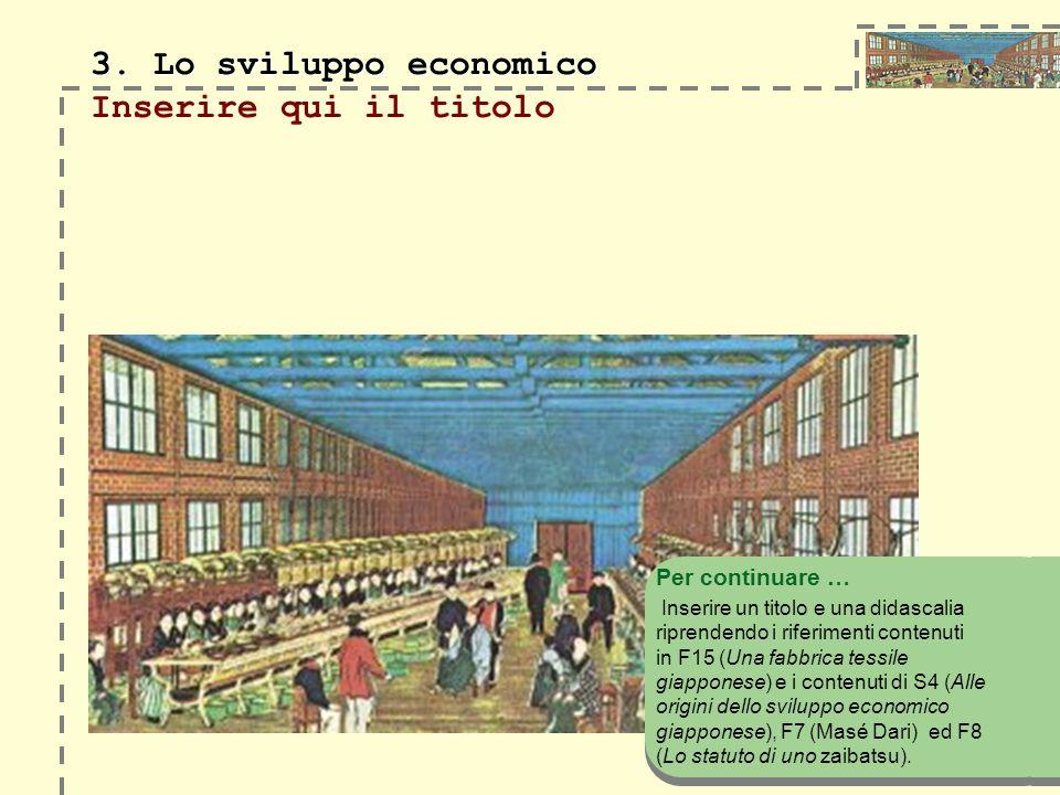 3. Lo sviluppo economico Inserire qui il titolo