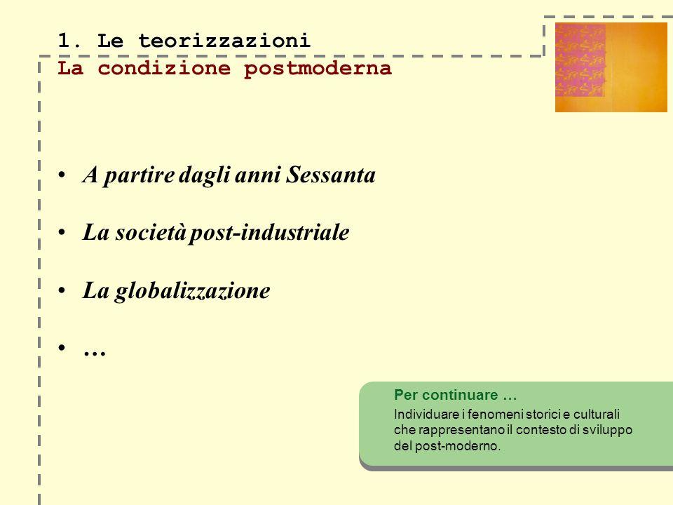 1. Le teorizzazioni La condizione postmoderna