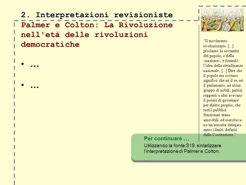 2. Interpretazioni revisioniste Palmer e Colton: La Rivoluzione nell età delle rivoluzioni democratiche