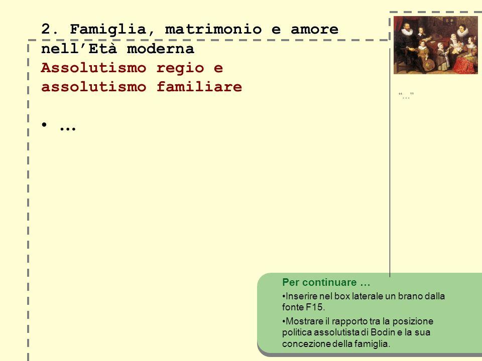 2. Famiglia, matrimonio e amore nell'Età moderna Assolutismo regio e assolutismo familiare