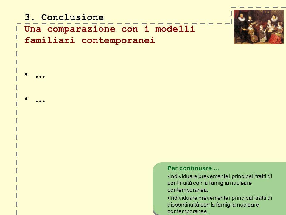 3. Conclusione Una comparazione con i modelli familiari contemporanei