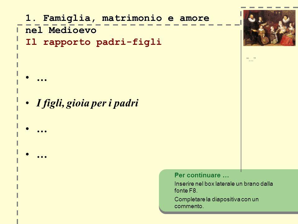 1. Famiglia, matrimonio e amore nel Medioevo Il rapporto padri-figli