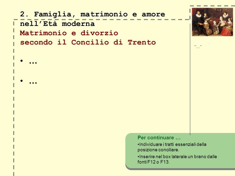 2. Famiglia, matrimonio e amore nell'Età moderna Matrimonio e divorzio secondo il Concilio di Trento