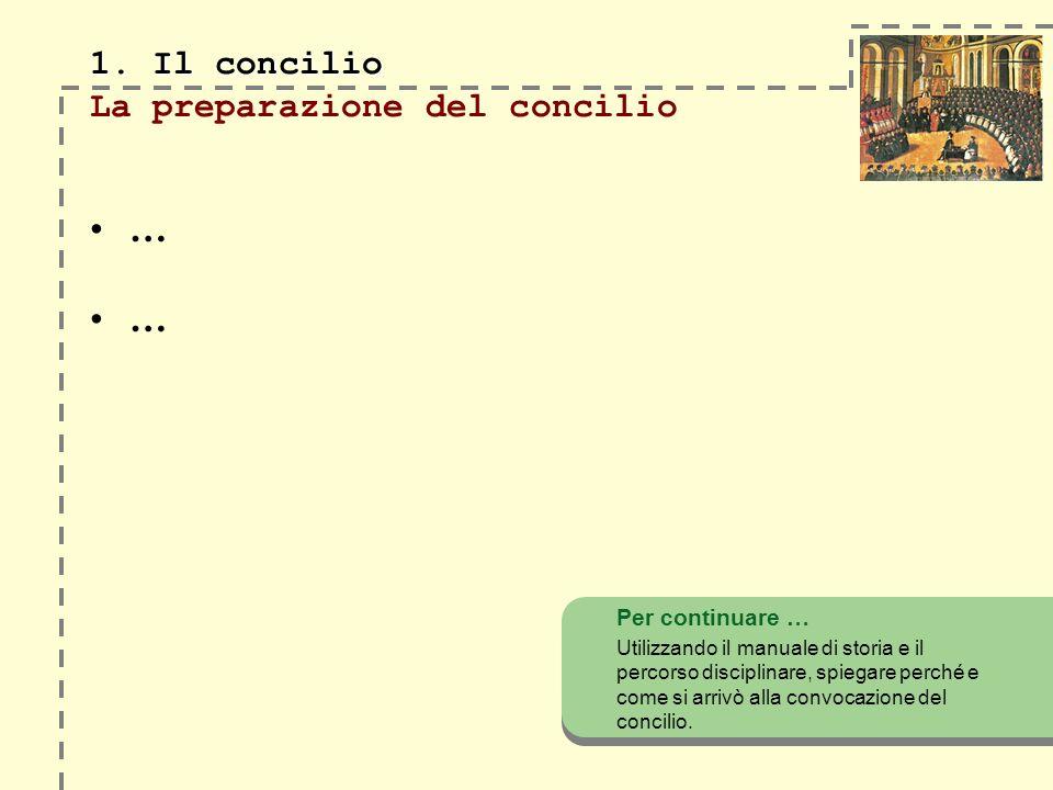 1. Il concilio La preparazione del concilio