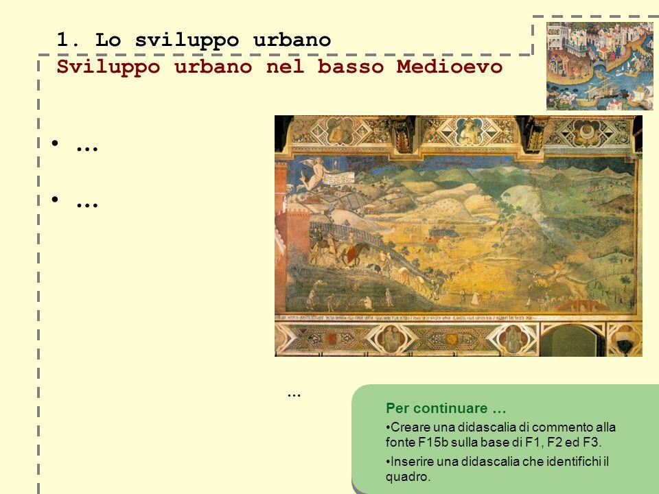 1. Lo sviluppo urbano Sviluppo urbano nel basso Medioevo