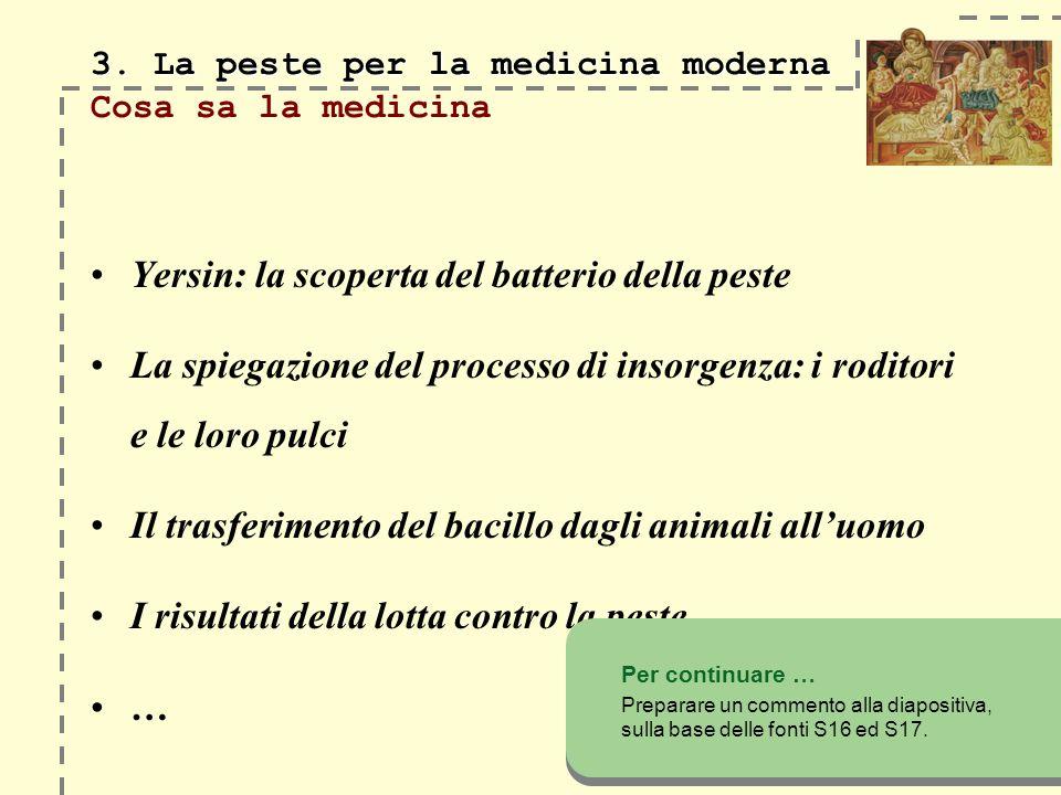 3. La peste per la medicina moderna Cosa sa la medicina