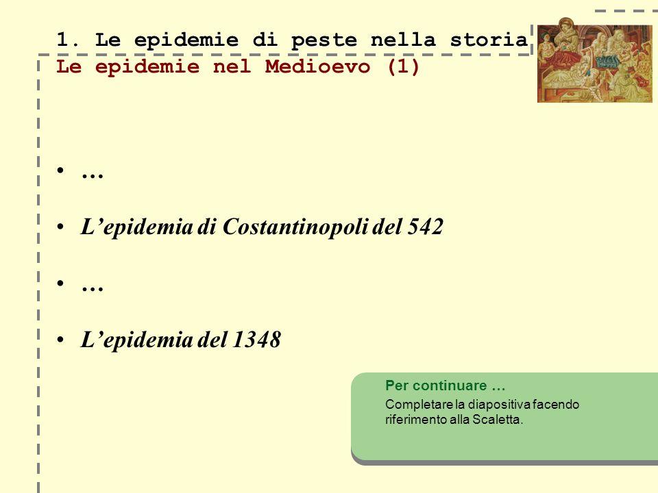 1. Le epidemie di peste nella storia Le epidemie nel Medioevo (1)