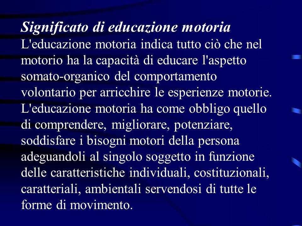 Significato di educazione motoria