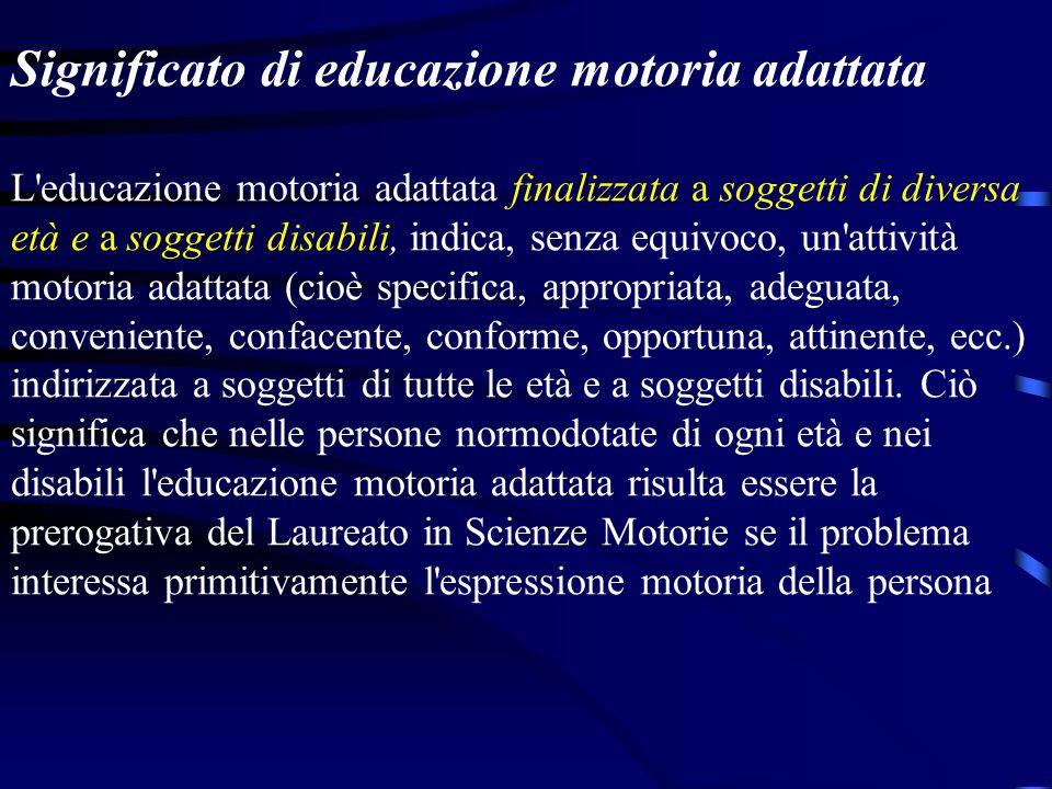 Significato di educazione motoria adattata