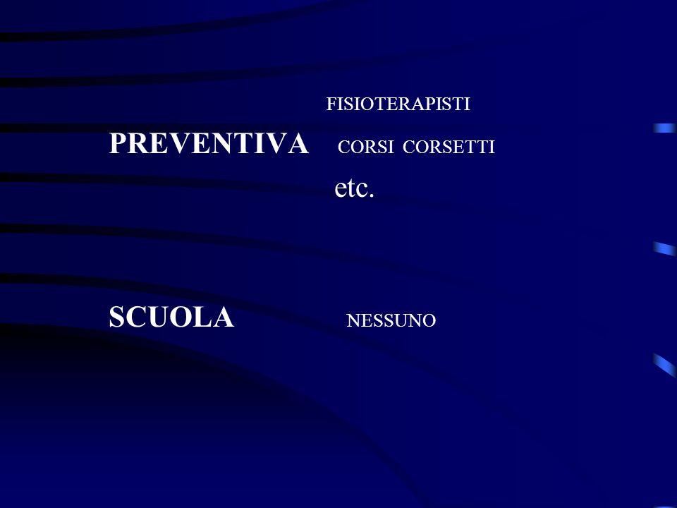 FISIOTERAPISTI PREVENTIVA CORSI CORSETTI etc. SCUOLA NESSUNO