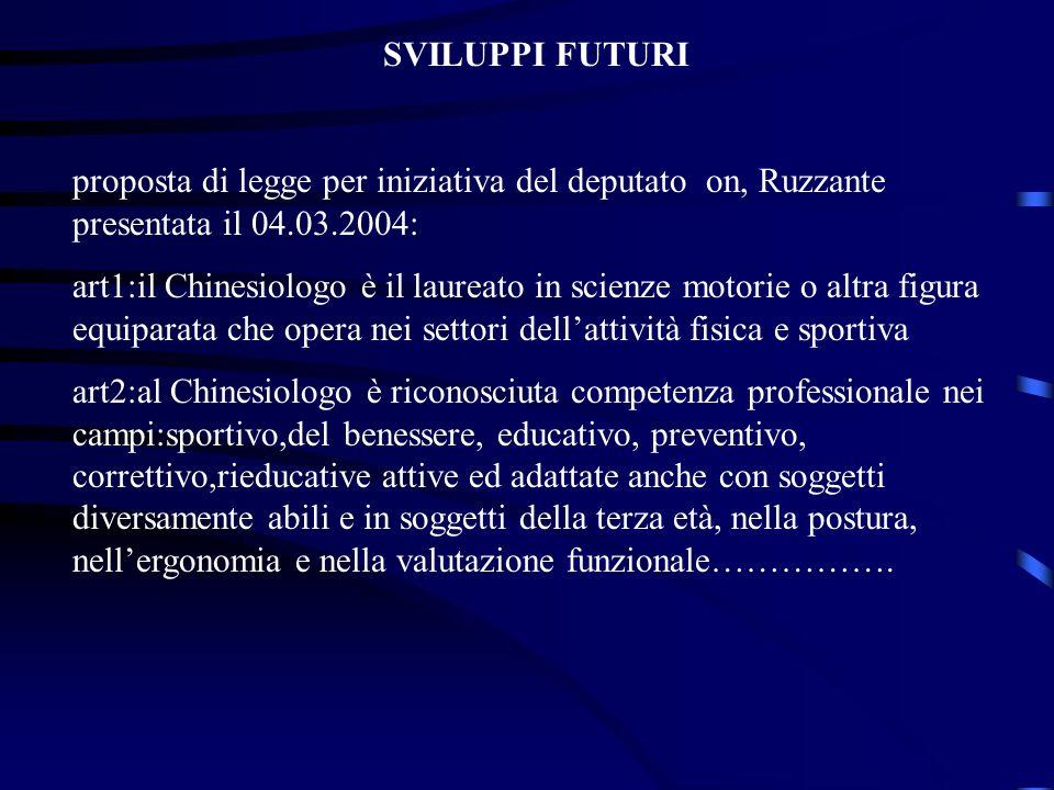 SVILUPPI FUTURI proposta di legge per iniziativa del deputato on, Ruzzante presentata il 04.03.2004: