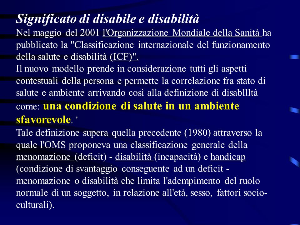 Significato di disabile e disabilità