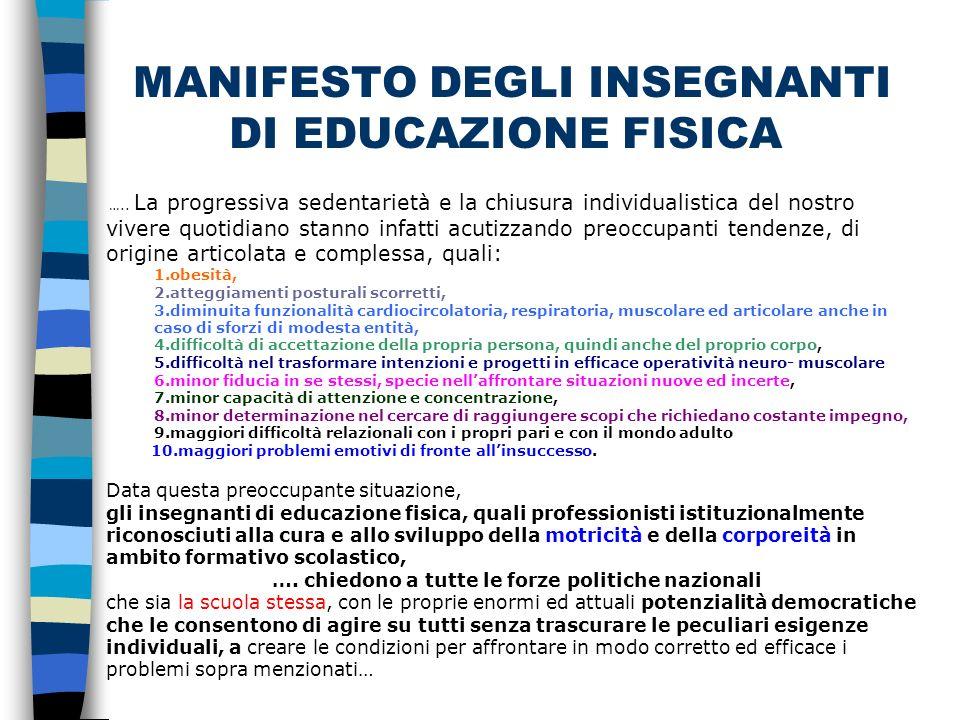 MANIFESTO DEGLI INSEGNANTI DI EDUCAZIONE FISICA