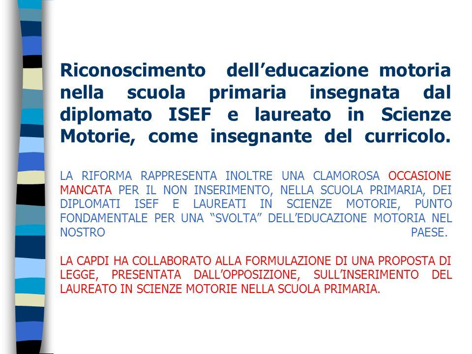Riconoscimento dell'educazione motoria nella scuola primaria insegnata dal diplomato ISEF e laureato in Scienze Motorie, come insegnante del curricolo.