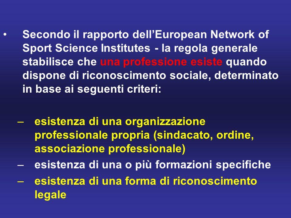 Secondo il rapporto dell'European Network of Sport Science Institutes - la regola generale stabilisce che una professione esiste quando dispone di riconoscimento sociale, determinato in base ai seguenti criteri: