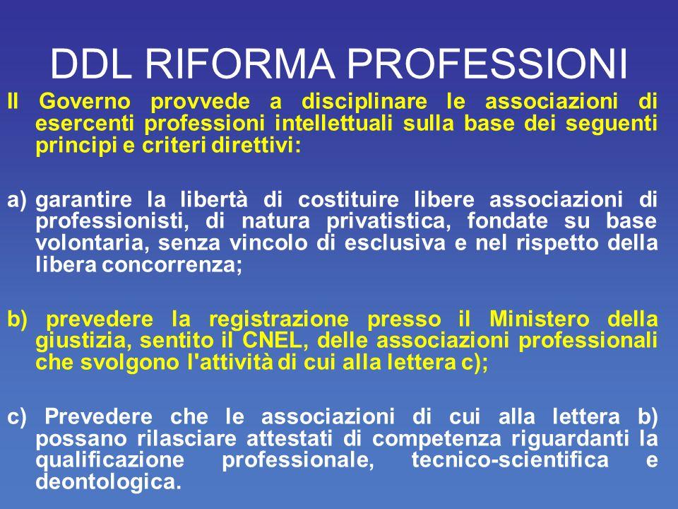 DDL RIFORMA PROFESSIONI