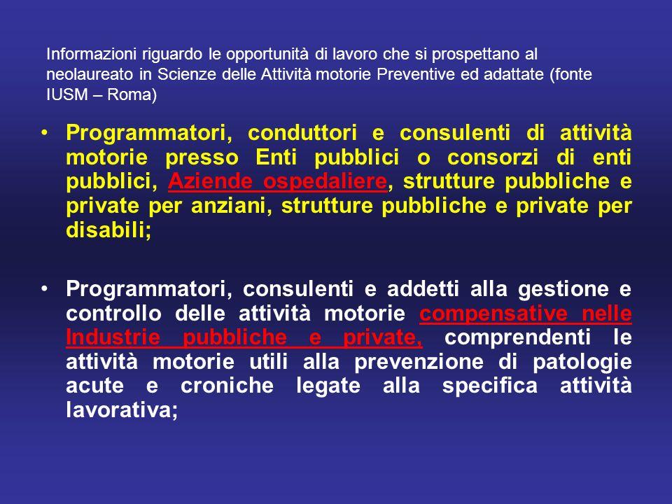 Informazioni riguardo le opportunità di lavoro che si prospettano al neolaureato in Scienze delle Attività motorie Preventive ed adattate (fonte IUSM – Roma)