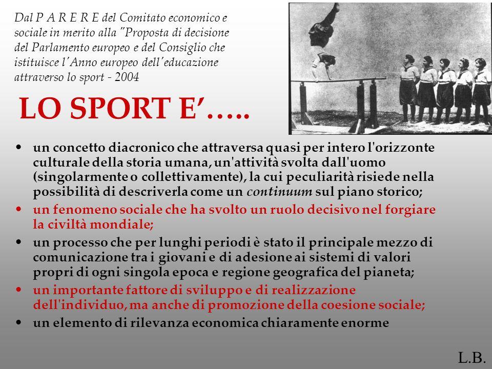 Dal P A R E R E del Comitato economico e sociale in merito alla Proposta di decisione del Parlamento europeo e del Consiglio che istituisce l Anno europeo dell educazione attraverso lo sport - 2004