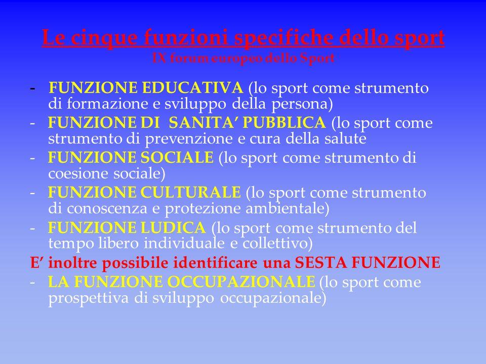 Le cinque funzioni specifiche dello sport IX forum europeo dello Sport