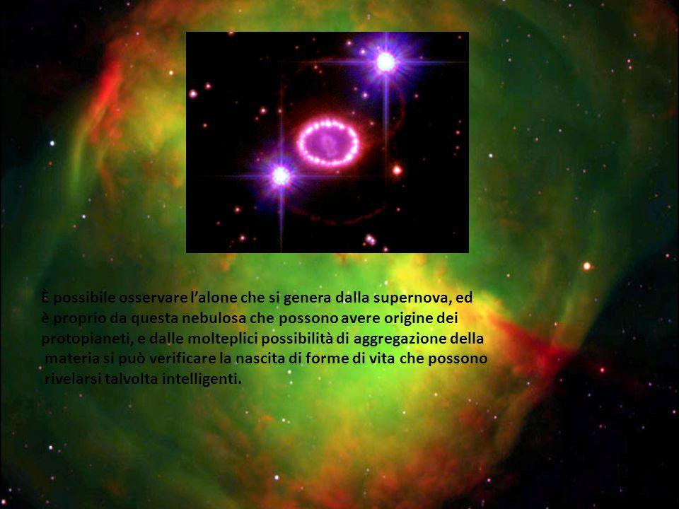 È possibile osservare l'alone che si genera dalla supernova, ed è proprio da questa nebulosa che possono avere origine dei protopianeti, e dalle molteplici possibilità di aggregazione della materia si può verificare la nascita di forme di vita che possono rivelarsi talvolta intelligenti.