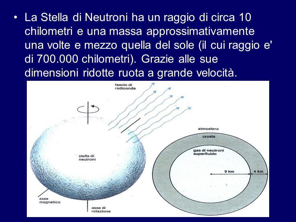 La Stella di Neutroni ha un raggio di circa 10 chilometri e una massa approssimativamente una volte e mezzo quella del sole (il cui raggio e di 700.000 chilometri).