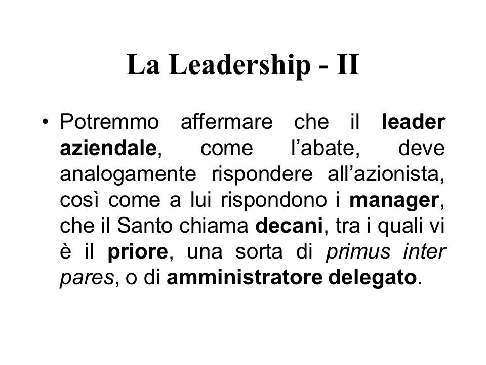 La Leadership - II