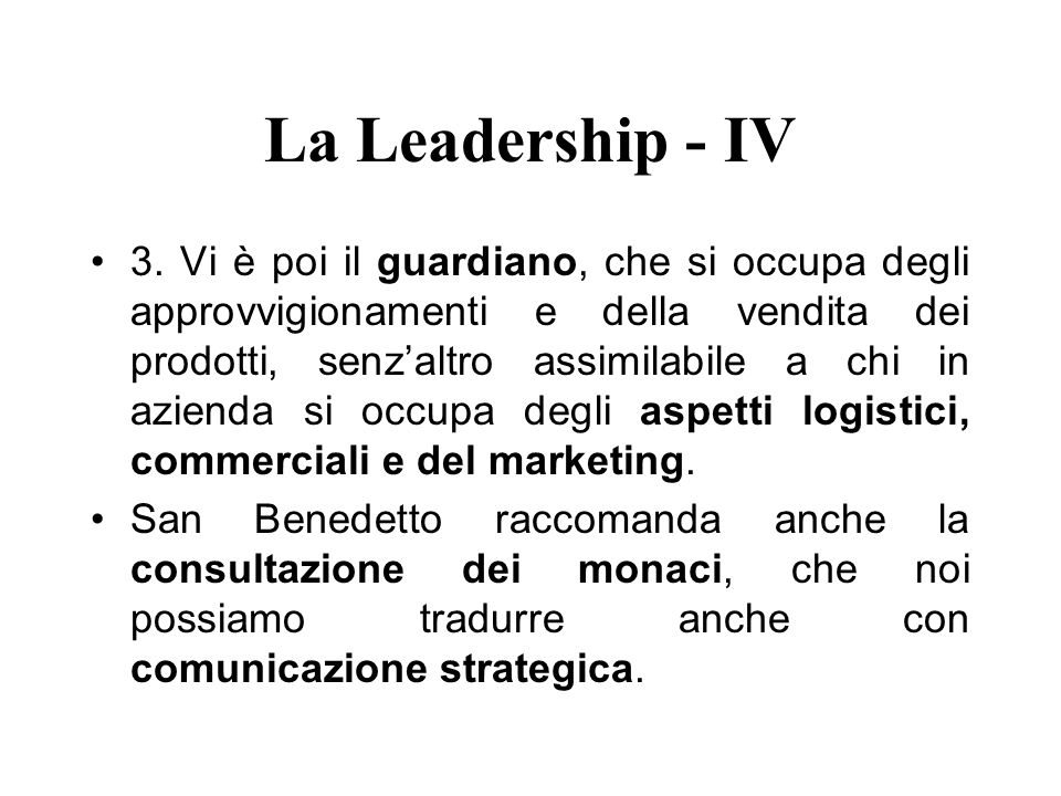 La Leadership - IV